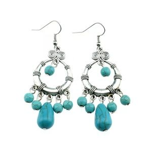 af4c0f2ab4 Jewelry | Turquoise Blue Dangy Silver Earrings | Poshmark